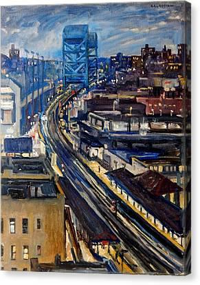 Night Tracks New York Nocturne Broadway Bridge Canvas Print by Thor Wickstrom