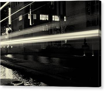 Night Train Black And White Canvas Print by Joshua House