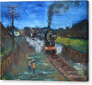 Canvas Print featuring the painting Night Train by Denise Tomasura