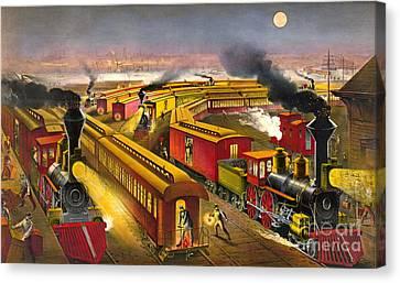 Night Trains 1876 Canvas Print by Padre Art