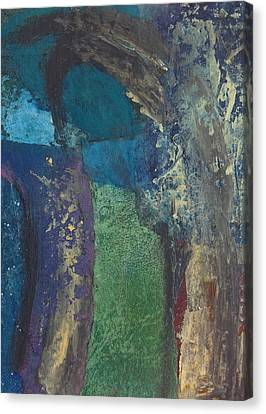 Canvas Print featuring the mixed media Night Trees by Catherine Redmayne