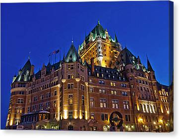 Night View Of Chateau Frontenac Hotel Canvas Print