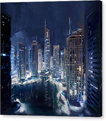 Night View Of Jlt Dubai Canvas Print by Corporate Art Task Force