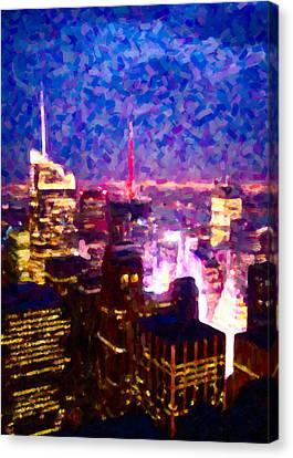 Night View Of New York City Canvas Print by Hakon Soreide