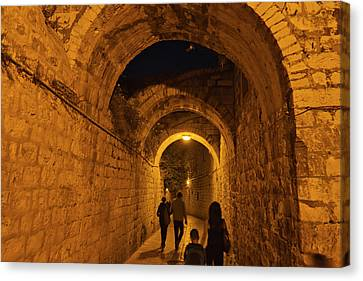 Night View Of Old Town, Jerusalem Canvas Print by Keren Su