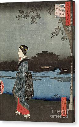 Night View Of Sanya Canal And Matsuchi Hill Canvas Print by Hiroshige