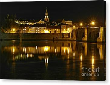 Night View Of The River Tweed At Berwick Canvas Print