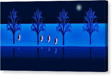 Canvas Print featuring the digital art Night Walk Of The Penguins by David Dehner