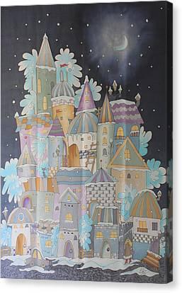 Night Winter City Canvas Print
