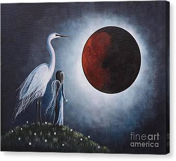 Night With The Great Egret By Shawna Erback Canvas Print by Shawna Erback