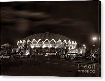 night WVU Coliseum basketball arena Canvas Print by Dan Friend