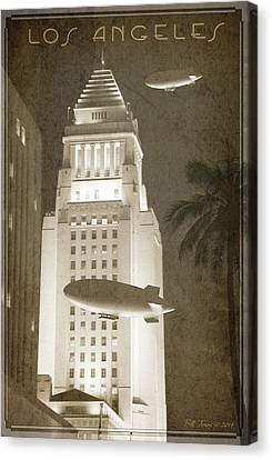 Night Zeppelins Over L A Canvas Print by Bill Jonas