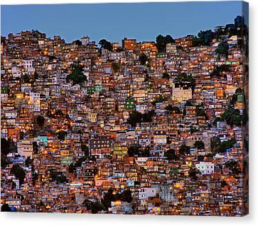 Nightfall In The Favela Da Rocinha Canvas Print by Adelino Alves