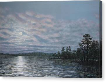Nightfall - Moonrise On The Waterfront Canvas Print by Kathleen McDermott