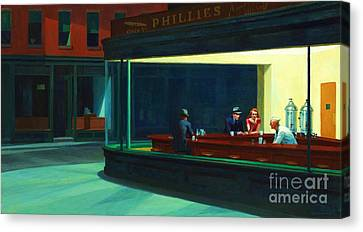 Nighthawks Canvas Print by Pg Reproductions