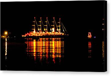 Nightlife On The Water Canvas Print
