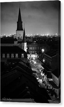 Canvas Print featuring the photograph Nightscape B/w by Shelly Stallings