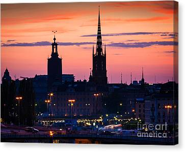 Nightsky Over Stockholm Canvas Print by Inge Johnsson