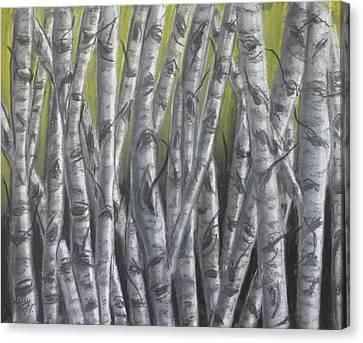 Nighttime Birch Canvas Print