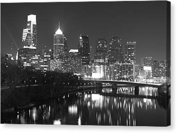Canvas Print featuring the photograph Nighttime In Philadelphia by Alice Gipson