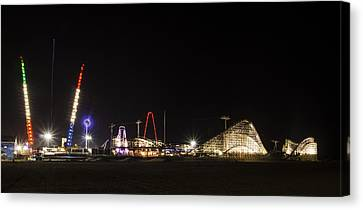 Nighttime In Wildwood New Jersey Canvas Print by Bill Cannon