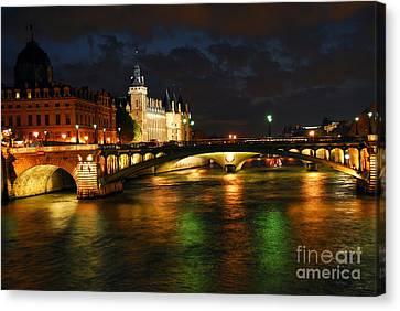 Nighttime Paris Canvas Print by Elena Elisseeva