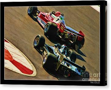 Niki Lauda Leads Mario Andretti Canvas Print by Blake Richards