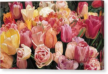 Canvas Print featuring the painting Nikki's Tulips by Tim Gilliland