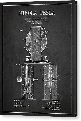 Nikola Tesla Electro Magnetic Motor Patent Drawing From 1889 - D Canvas Print by Aged Pixel