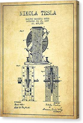 Nikola Tesla Electro Magnetic Motor Patent Drawing From 1889 - V Canvas Print by Aged Pixel