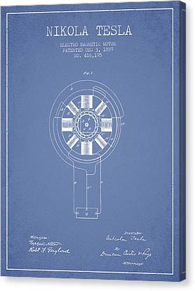 Generators Canvas Print - Nikola Tesla Patent Drawing From 1889 - Light Blue by Aged Pixel