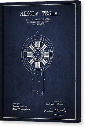 Generators Canvas Print - Nikola Tesla Patent Drawing From 1889 - Navy Blue by Aged Pixel