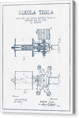 Nikola Tesla Regulator Patent Drawing From 1886- Blue Ink Canvas Print