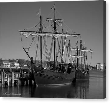 Nina And Pinta In Black And White Canvas Print