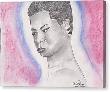 Canvas Print featuring the drawing Nina Simone by David Jackson
