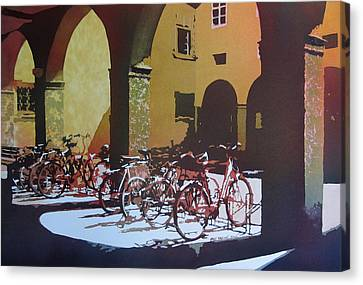 Nine Bicycles Canvas Print by Kris Parins
