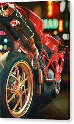 Exhausted Canvas Print - Nine Foot Ducati by Guenevere Schwien