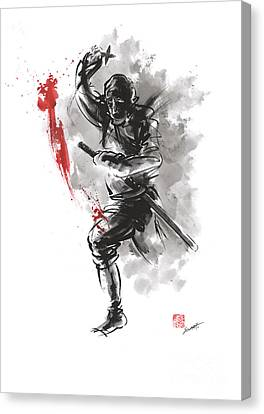 Geisha Girl Canvas Print - Ninja - Dark Warrior by Mariusz Szmerdt