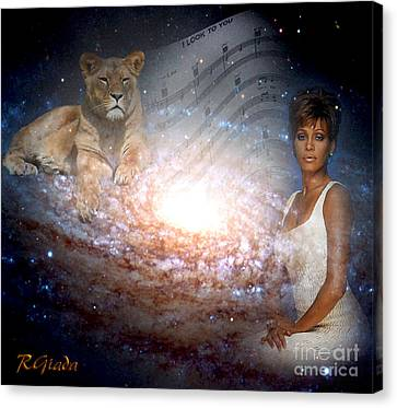 Canvas Print featuring the digital art Nippy The Graceful Lioness - Tribute Art By Giada Rossi by Giada Rossi
