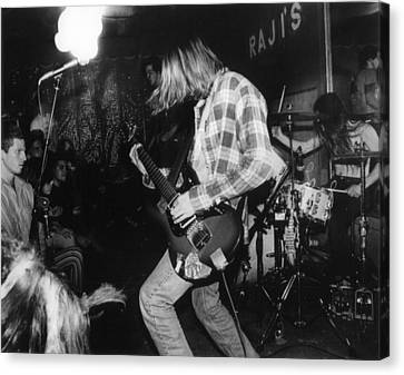 Nirvana Playing In Front Of Crowd Canvas Print