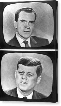 Nixon-kennedy Debate On Tv Canvas Print