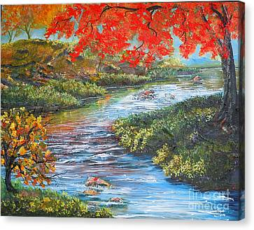 Nixon's Brilliant View Of Fall Alongside The Rapidan River Canvas Print by Lee Nixon