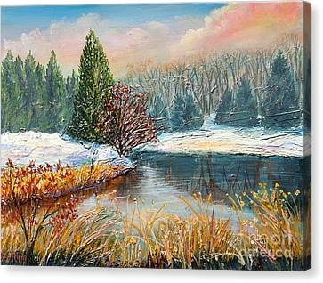 Gravel Road Canvas Print - Nixon's Colorful Winter View Of Gregg's Pond by Lee Nixon