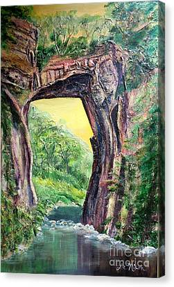 Canvas Print featuring the painting Nixon's Glorious View Of Natural Bridge by Lee Nixon