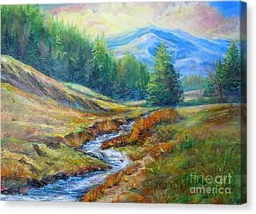 Canvas Print featuring the painting Nixon's Meandering Stream by Lee Nixon