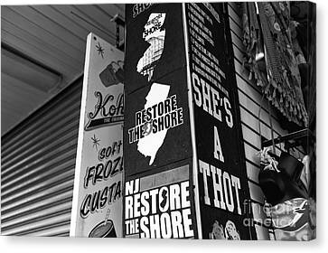 Nj Restore The Shore Mono Canvas Print