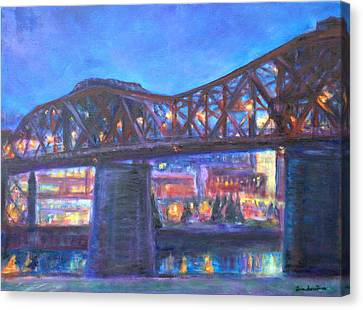 City At Night Downtown Evening Scene Original Contemporary Painting For Sale Canvas Print