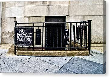 Philadelphia Phillies Canvas Print - No Bicycle Parking by Bill Cannon
