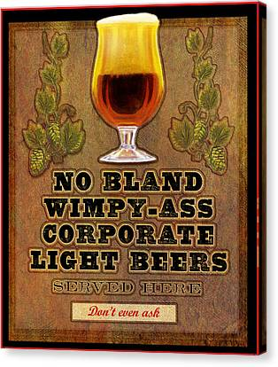 No Bland Beer Served Here Poster Canvas Print by R christopher Vest