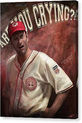 Baseball Art Canvas Print - No Crying In Baseball by Steve Goad